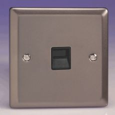 Varilight 1 Gang Telephone Slave Socket Pewter/Slate Grey Black Insert - XRTSB